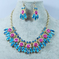 Free shipping Large Rhinestone shiny chocker necklace earrings sets retro brand Luxury fashion jewelry sets