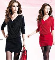 2014 autumn women V-neck long sleeve ol elegant pleated corset dress slim faux two piece office dress victoria novelty dress XL