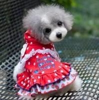 Free shipping Strawberry Polka Dot Wawa Shan pet small dog clothes Teddy gradient shirt spring and summer guests