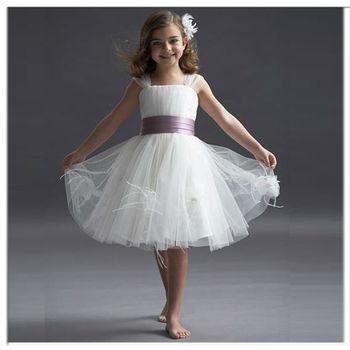 Pupular purple Ribbn fur fringed white cheap flower girl dresses
