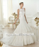 Elegant Boutique Applique Nice Bride Gowns K462 Lace A-line Court Train Wedding Dresses