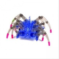 Free Shipping 3pcs/lot DIY assemble Spider Robot high-teach Electric crawl toy simple science  educational toy Christmas gift