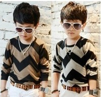 5pcs/lot striped boys undershirt  kids pullover t-shirt children sweatshirt wear free shipping