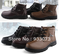 Free shipping snow boots shoes genuine leather men's plus size 48 Male cotton-padded leher atshoes cotton leather cotton boots