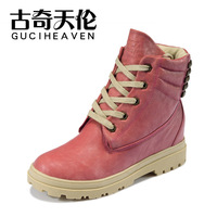 Free shipping 2013 new women's fashion rivets ankle boots trend genuine leather shoes inside heighten boot high quality 35-39