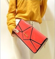 Free shipping 2013 Europe and America fashion long women  Wallet new style  splicing bright surface female wallet