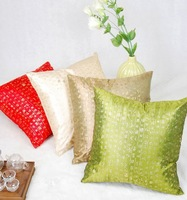Free Shipping  best quality red/beige/green/brown Beautiful  silk pillows cushion cover 45cm*45cm (5 pcs/ lots )