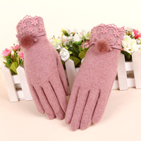 Winter female mink hair gloves thin thermal cashmere gloves repair cold-proof