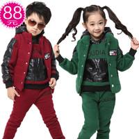 Autumn children's clothing male female child autumn and winter 2013 sweatshirt child sportswear three pieces set