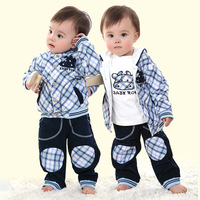 Baby boy clothing spring and autumn three pieces set 1 - 2 - 3 male child outerwear 2013 baby boy clothing clothes