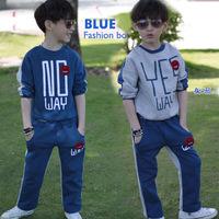Autumn male child set 2013 child casual sportswear 8-9-10 - 11 - 12 child