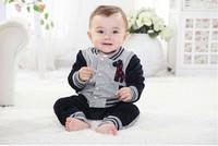 Children's clothing 2013 spring and autumn clothes male female child set infant clothes child velvet piece set