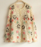 Fresh aesthetic flower vintage handmade sweater mohair crochet