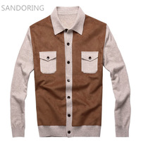 2013 men's autumn and winter clothing cashmere sweater Men sandoring turn-down collar slim color block cardigan sweater