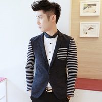 Free shipping 2013 patchwork yarn male blazer slim blazer outerwear XZ122