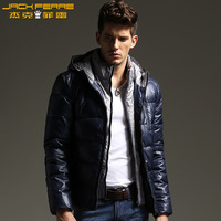 Jackferre male down coat faux two piece with a hood down jacket casual men's clothing outerwear