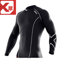 2xu men's  sports straitest  for winter  fitness clothing black o-neck long-sleeve