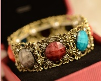 2013 Gem Bracelet Vintage Multicolour Gem Bangle Women Fashion Min order USD $10