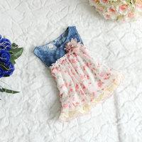 2013 wholesale Summer cowboy hollow out kids girls sleeveless chiffon dress flower girl dresses,4 pcs/lot,free shipping