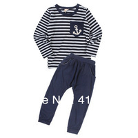 01-013 in stock 2013 autumn Stripe navy style anchor tracksuits clothing sets for children boys and girls children's wear