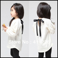 09-001 color white long sleeve t-shirts for children  girls kids hoody children cotton sweatshirt