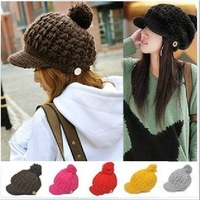 wholesale 10pcs/lot FREE shipping Winter short brim peaked handmade knitted hat macrospheric knitted hat knitting wool hat 105