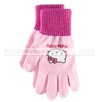 NEW 2013 autumn winter Hello Kitty children's gloves Boys and girls cartoon gloves pink Free shipping