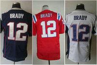 wow free shipping tee 2013 red blue white tom brady jersey 12# tshirt number name sewn on man 40 44 48 52 56 m l xl xxl xxxl