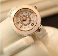 High quality luxury blingbling full rhinestone white ceramic watch women famous brand wristwatch lady watch women dress watch