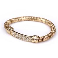 Minimum Order $20 (mixed order)  Fashion accessories golden punk dragon brief all-match full rhinestone bracelet
