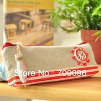 Free shipping fisherman series strip pencil bags,cosmetic case pen purse korean style wholesale