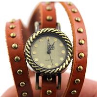 Fashion vintage round rivets strap watch bronze stripe dot table-core watch