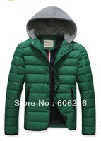 Hot! 2013 men's winter thick cotton padded jacket Korean men fashion Down jacket detachable cap cotton coat Down jackets  q4r678