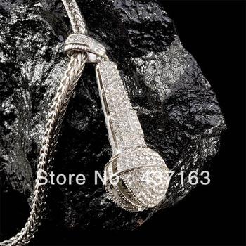 старинные микрофон кулон ожерелье партии дочери подарки хип-хоп стиля ювелирных изделий Бесплатная доставка xx005.