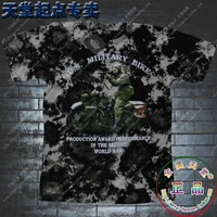 Promotion T shirts For Men   100% Cotton Basic  Camouflage 100% Tie-dyeing Cotton Motorcycle Gun