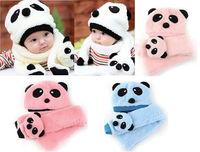 Toddler Infant baby Girls Boys Panda 2 pcs hat Cap Beanie & scarf 6M -3 years