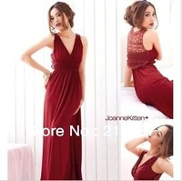 New arrival Europe and the United States women's back hollow V collar temperament party vest dress sexy dress