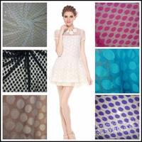 Big polka dot round dot embroidered lace gauze transparent soft mesh gauze one-piece dress shirt fabric