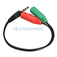 T2N2 3.5mm Male to 2 Female Audio Stereo Splitter Earphone Extension Cable