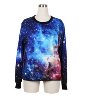 2013 Fashion Women Digital Printed Galaxy Blue Cosmos Space Crewneck Hoodies Sweatshirts Black Milk Sweater WY1018 Free Shipping