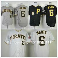 2013 cheap baseball shirt Pittsburgh Pirates Jersey 6 Starling Marte grey/White/black men's stitched baseball jersey, free ship