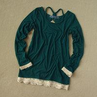 Women's long-sleeve T-shirt cutout crochet twisted braided rope spaghetti strap 100% 4129 basic cotton shirt