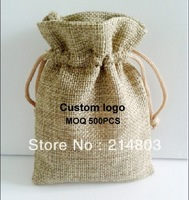 W10xH15cm Customized eco friendly plain jute drawstring pouhes gift bag with custom printing company logo, free shipping