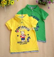 Summer pom male child bear letter fashion child short-sleeve T-shirt POLO 100% collar cotton t-shirt