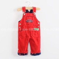 Male female child corduroy 100% cotton bib pants roll-up hem