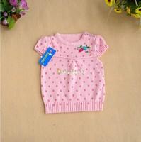 Short in size rabbit ploughboys female child dot cherry yarn vest children vest