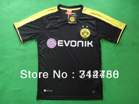 free shipping 13/14 top Thailand Quality Borussia Dortmund away black Reus #11 Lewandowski #9 soccer football jersey shirts