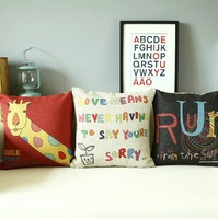 Ikea Style Love Proverbs and Lovely Giraffe 3pcs/lot Cushion Cover Home Decorate Sofa Office Car Pillow Case Wholesale