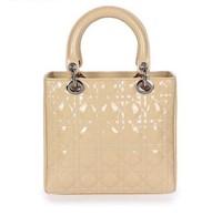 Top quality original brand LADY real patent calf leather khaki silver women's ambre tote fashion handbag free shipping wholesale