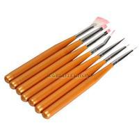 W7Tn 7PCS Nail Art Acrylic UV Gel Drawing Painting Pen Polish Brush Set DIY
